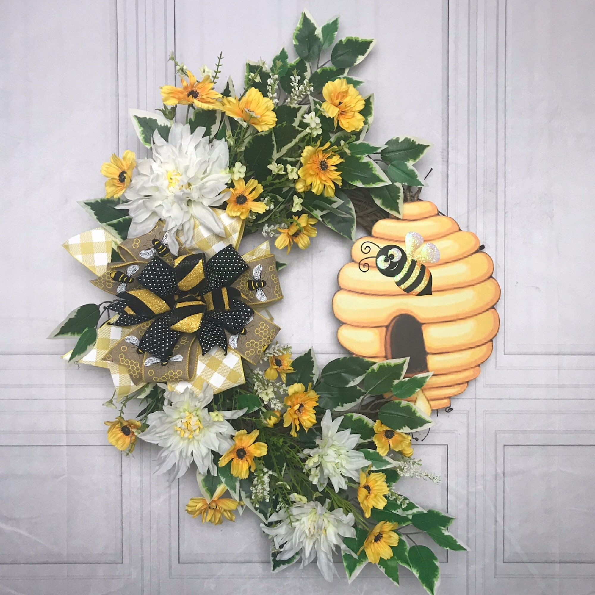 Floral grapevine bee hive front door wreath for ev