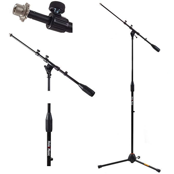 Amazon Com Hola Music Hps 101tb Professional Tripod Microphone Mic Stand With Telescopic Boom Black Music Mic Microphone Stands Recording Studio Equipment