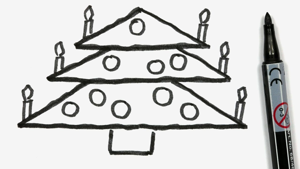 how to draw a cartoon christmas tree easy doodle for children