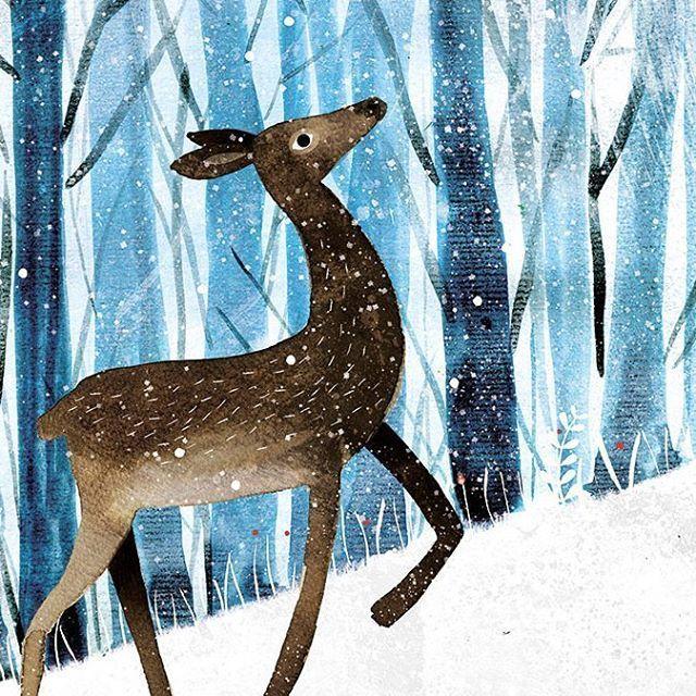 Carmen Saldana Winter art lesson, Art, Deer illustration