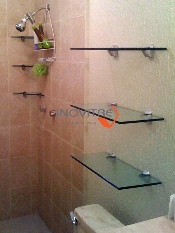 Resultado de imagen para repisas flotantes de vidrio para for Estantes vidrio bano
