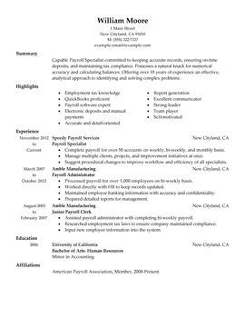 Accounting Resume Examples Payroll Specialist  Perfect Resume Examples  Pinterest  Resume