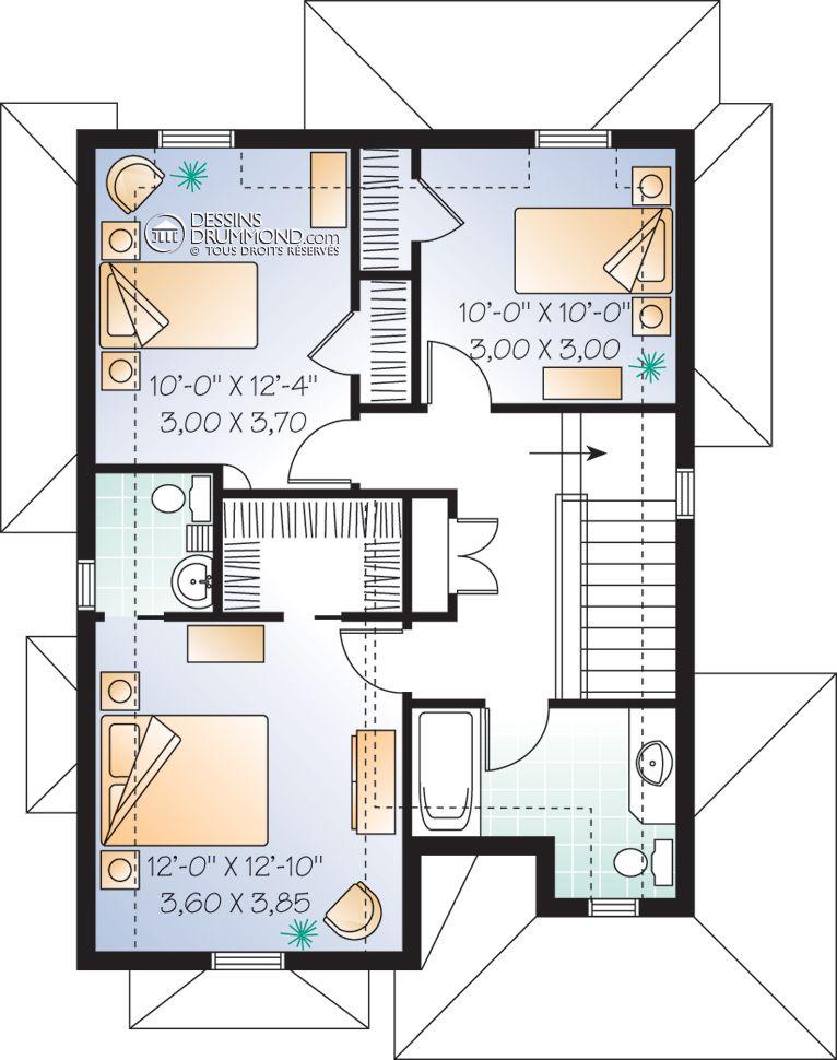 Champêtre W2767 Maison Laprise - Maisons pré-usinées Plan - plan maison etage m
