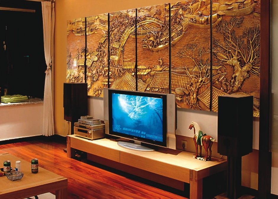 Wall Decoration. Artistic Japanese Interior design with 3D Wall Art Panel. Natural Brown Wood & Wall Decoration. Artistic Japanese Interior design with 3D Wall Art ...