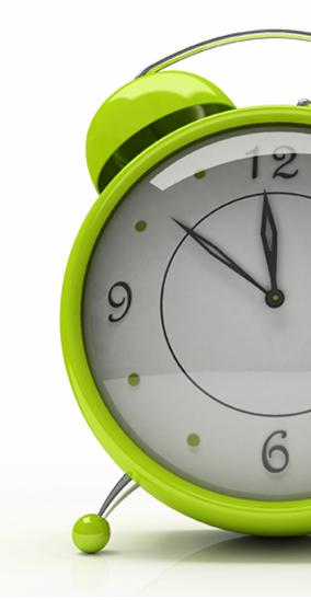 Happy lime green alarm clock.