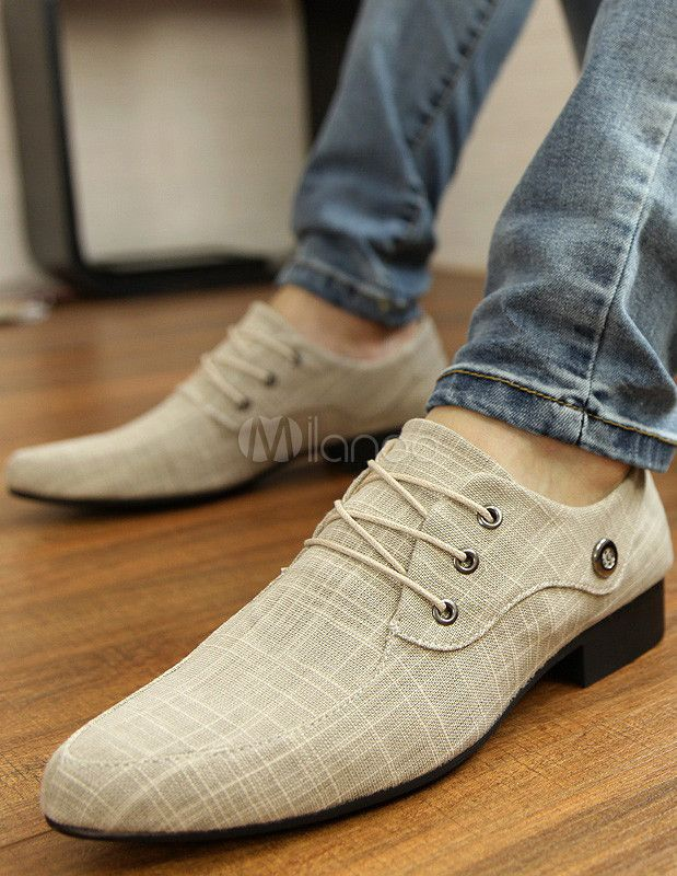 Stylish Ecru White Lace Up Canvas Casual Shoes For Men - Milanoo.com