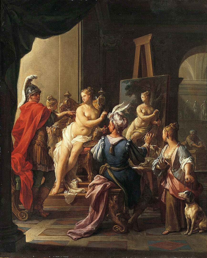 Apelles Painting Campaspe is a popular subject for painters, as seen in these renditions by Francesco Trevisani (above) and Giovanni Battista Tiepolo (below). Description from allgraphically.com. I searched for this on bing.com/images