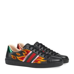 Ace low-top sneaker with flames