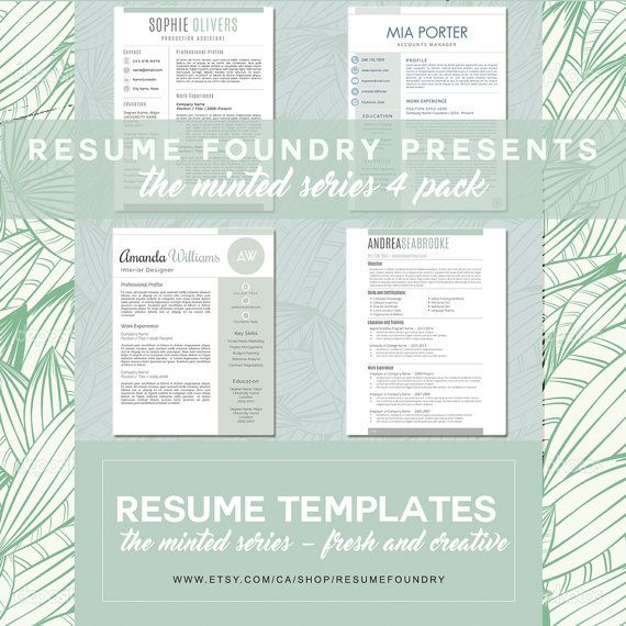 Minted Series by Resume Foundry 4 Pack of Fresh, New Resume - new resume template