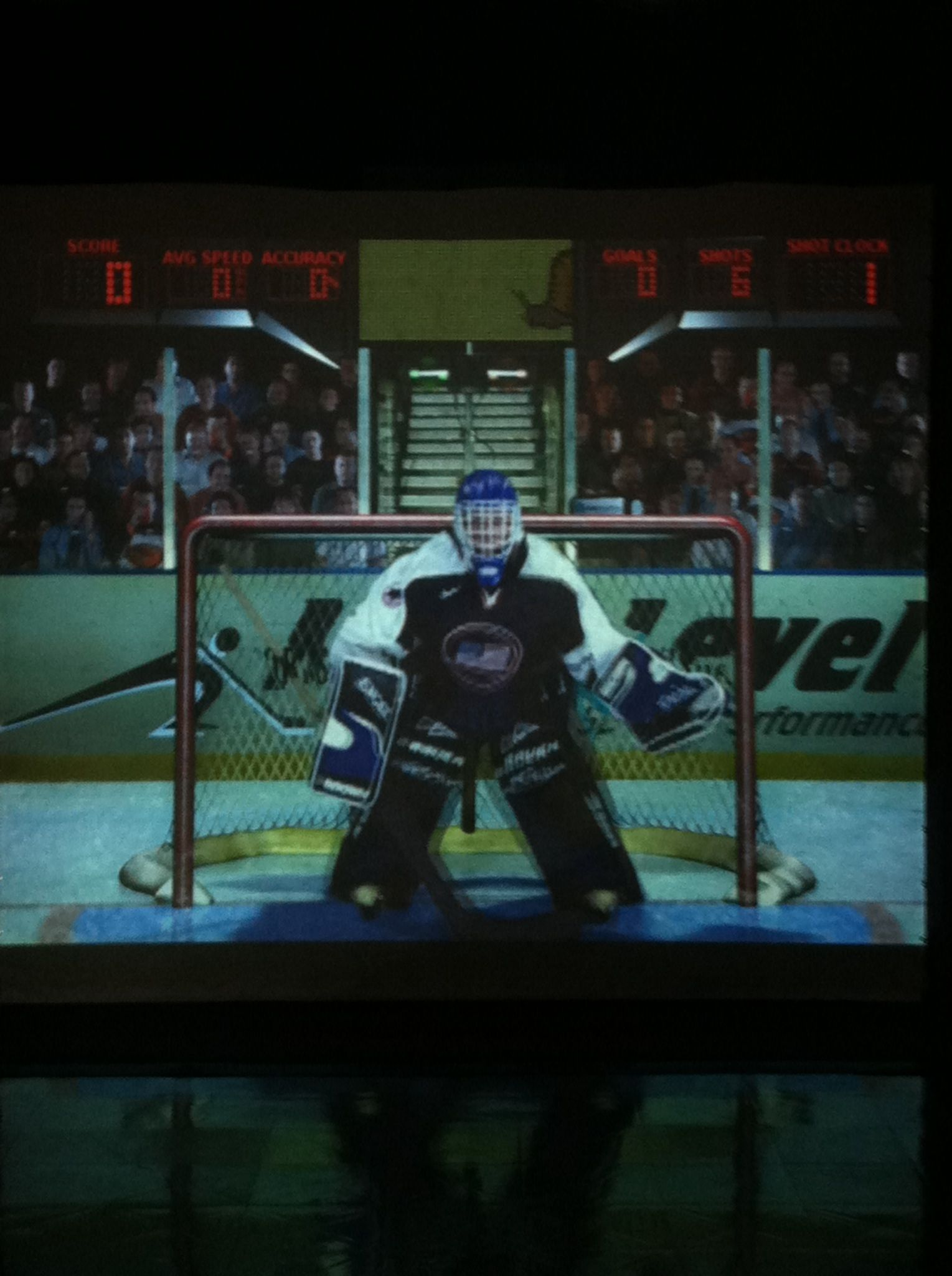 Hockey on our Sports Simulator (virtual video game
