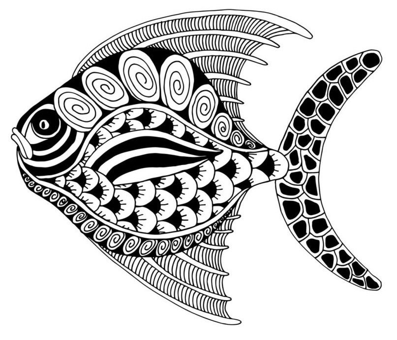 adult coloring page fishes fish coloring pages easy zentangle easy zentangle patterns. Black Bedroom Furniture Sets. Home Design Ideas