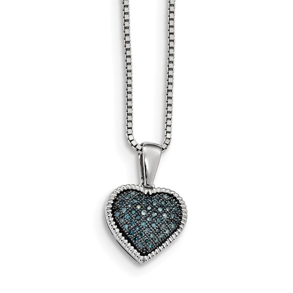 925 Sterling Silver Rhodium-plated w//Diamond Accent Heart Charm Pendant