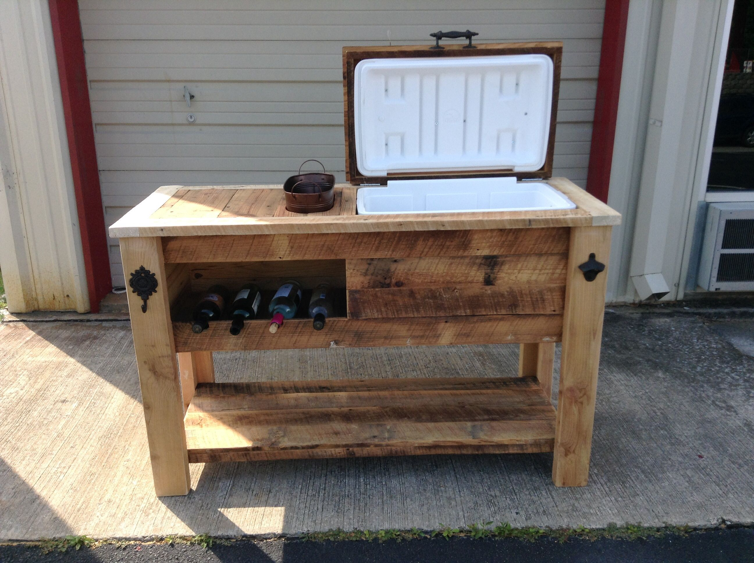 barn wood cooler table with wine chill