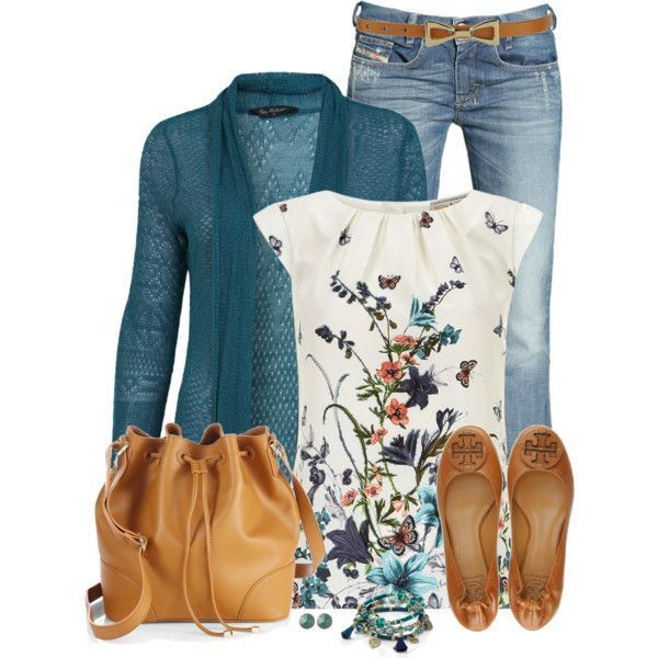 like this combo- top and open cardigan. Love the soft floral and blue, not  sure about the neckline of the floral top, i prefer a v or u shaped neck f10d1466ff