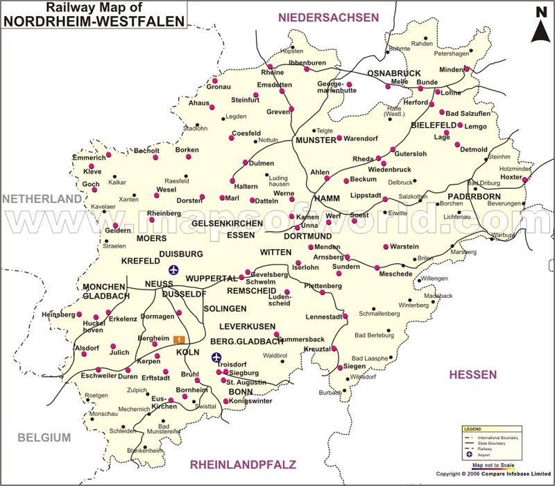 NordrheinWestfalen Railway Map Germany Maps Pinterest