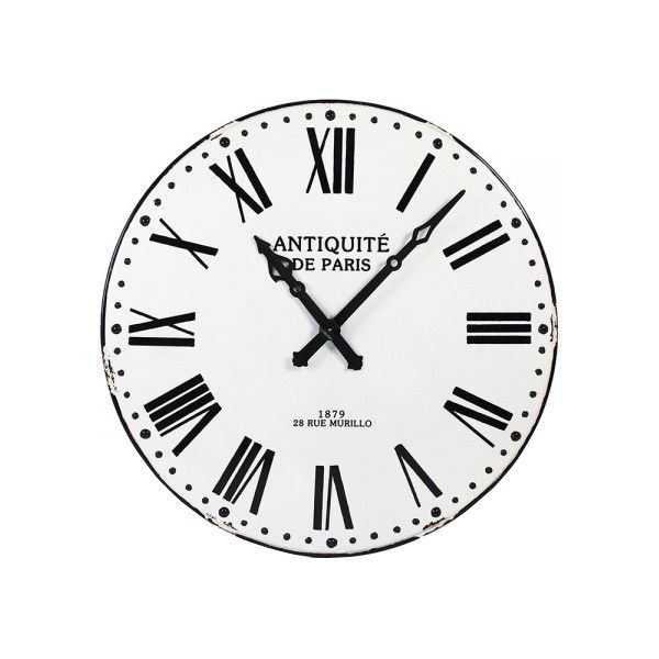 Grand Parisian Blanc Et Noir Wall Clock 595 Liked On Polyvore Featuring Home Home Decor Clocks Roman Numeral Cloc Wall Clock Oversized Wall Clock Clock