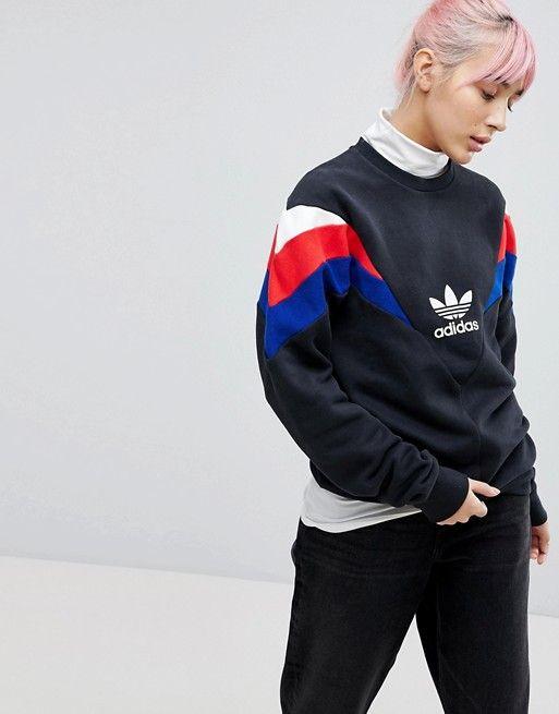 Adidas Originali Neva Equipaggio Sudore In Nero Adidas Pinterest