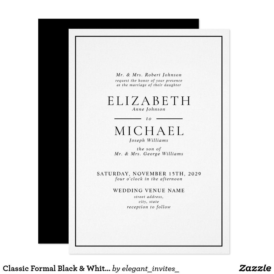 Classic Formal Black White Simple Wedding Invitation In 2020 Simple Wedding Invitations Black And White Wedding Invitations Black Tie Wedding Invitations