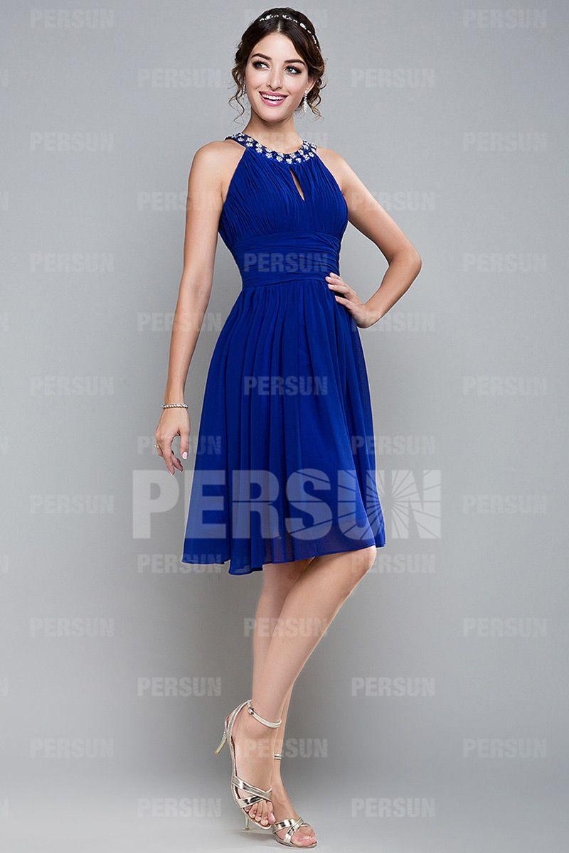 Robe de bal courte bleue ruchée avec bretelle autour du cou - Persun ... 5d2abc41f38