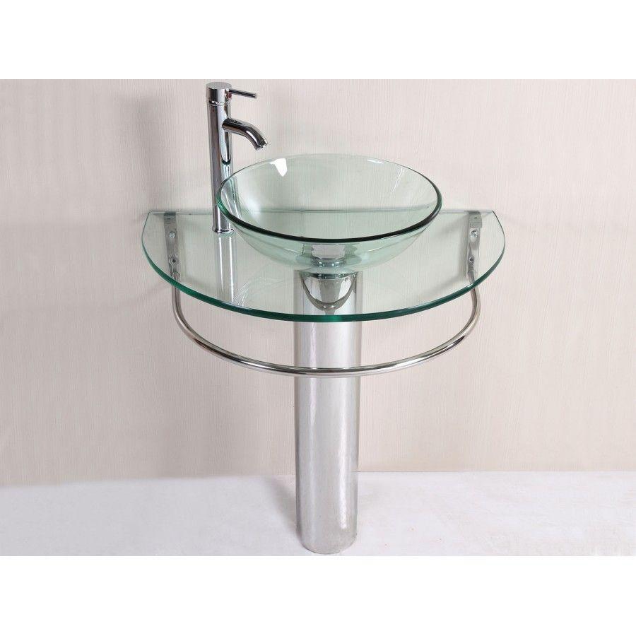 30 Inch Wall Mounted Single Chrome Metal Pedestal Bathroom Vanity   Include  Clear Vessel