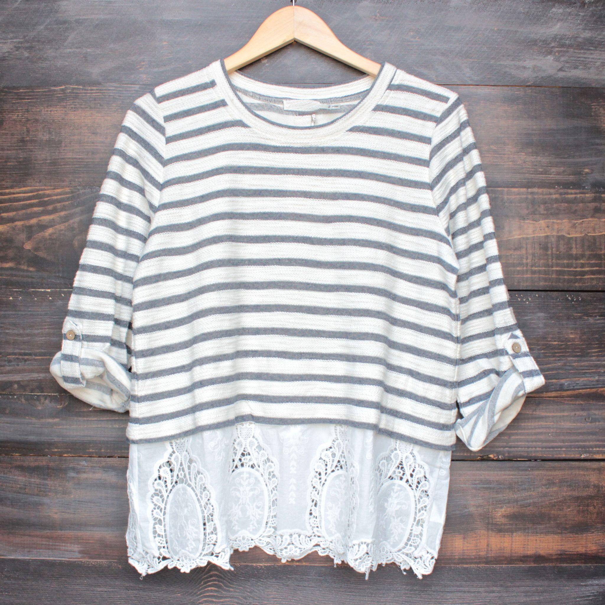 oversize striped button-up back vintage lace hem womens sweater top