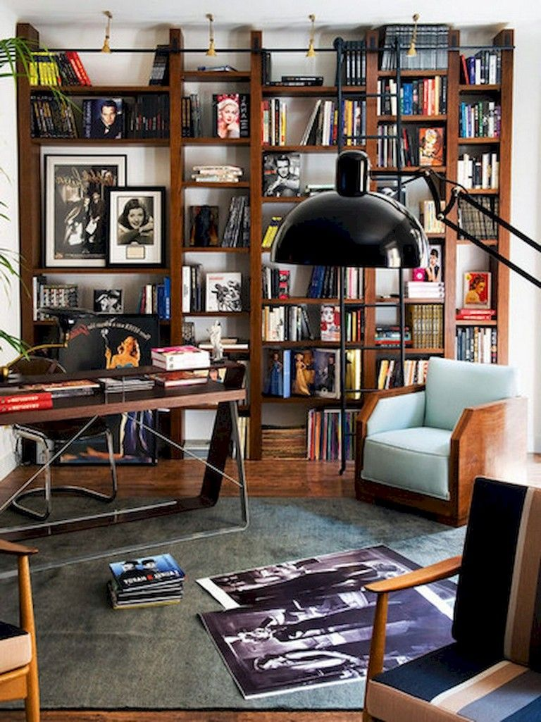 58 Stunning Library Room Design Ideas With Eclectic Decor In 2020