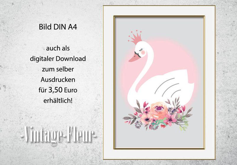 Kinderzimmer Poster A4 / A3, Schwann mit Blumen | Babies
