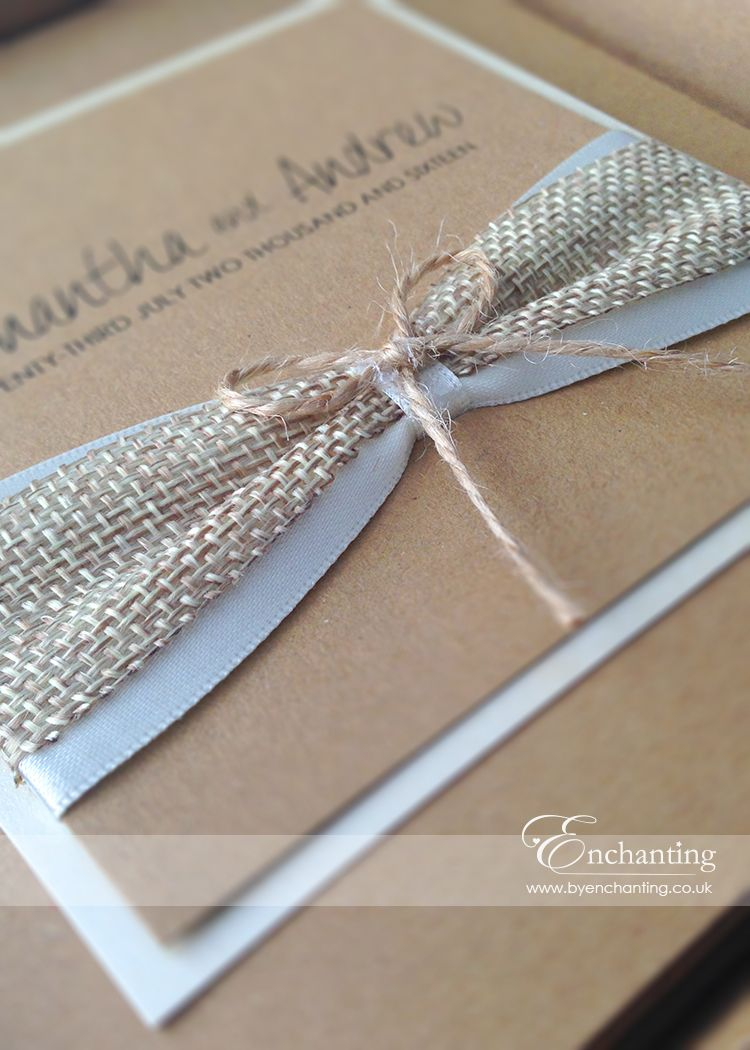 Rustic Wedding Invitations with Hessian and Twine Bow | Wedding ...