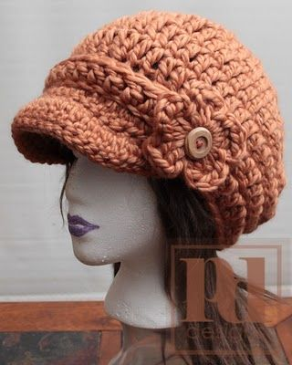 Crochet Newsboy Cap - love the bulkiness of it and the flower ...