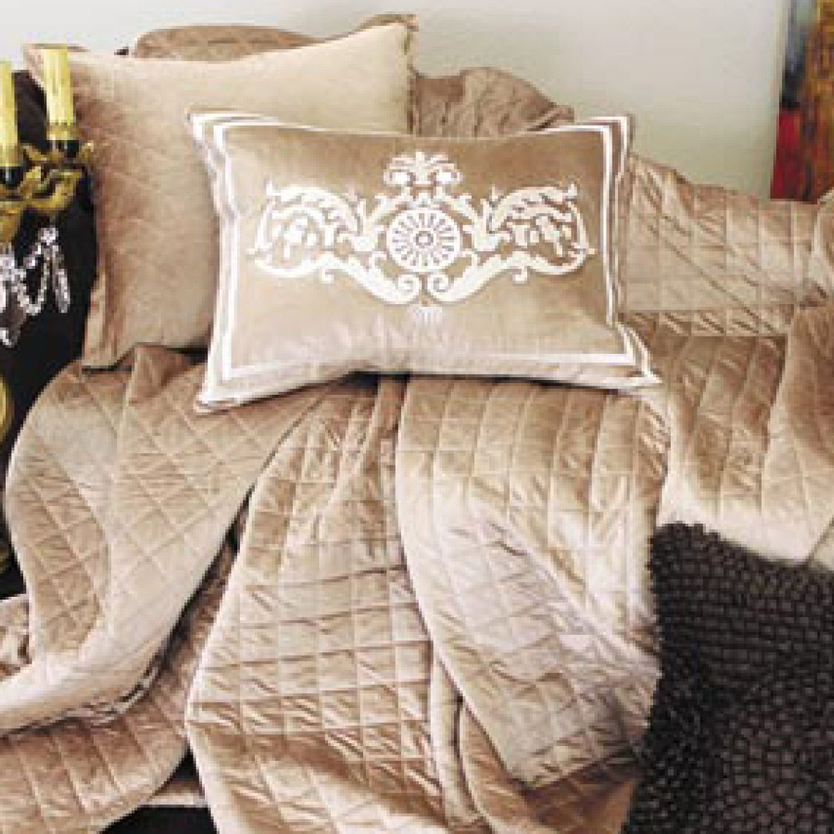 Perfect Lili Alessandra Chloe Diamond Quilted Velvet Champagne Coverlet Or Set  LALQ190CH
