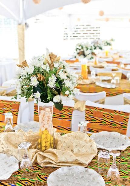 African Wedding Inspiration Kente Cloth Decor African