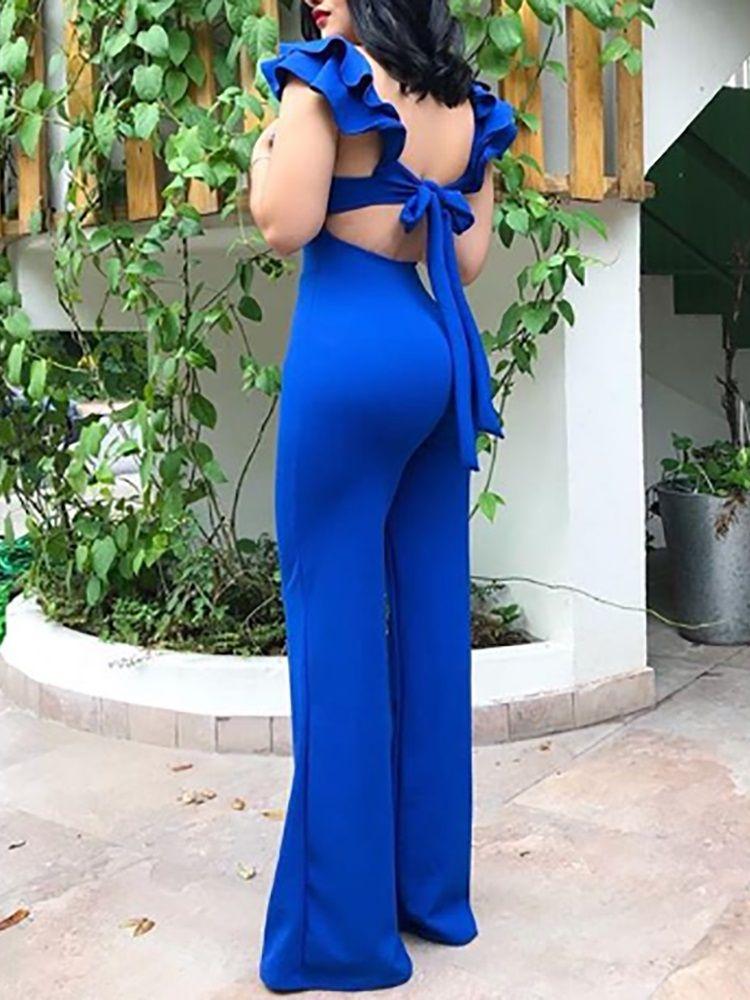 8609499c2ae8 Layered Flutter Sleeve Knot Backless Jumpsuit   blue jumpsuit  elegant  jumpsuit  bodycon jumpsuit outfit  women jumpsuit outfits  jumpsuit women  jumpsuit ...
