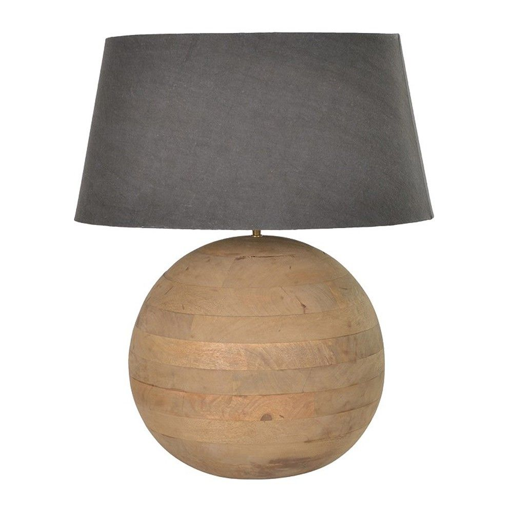 Houseology Collection Round Wooden Ball Table Lamp Mango