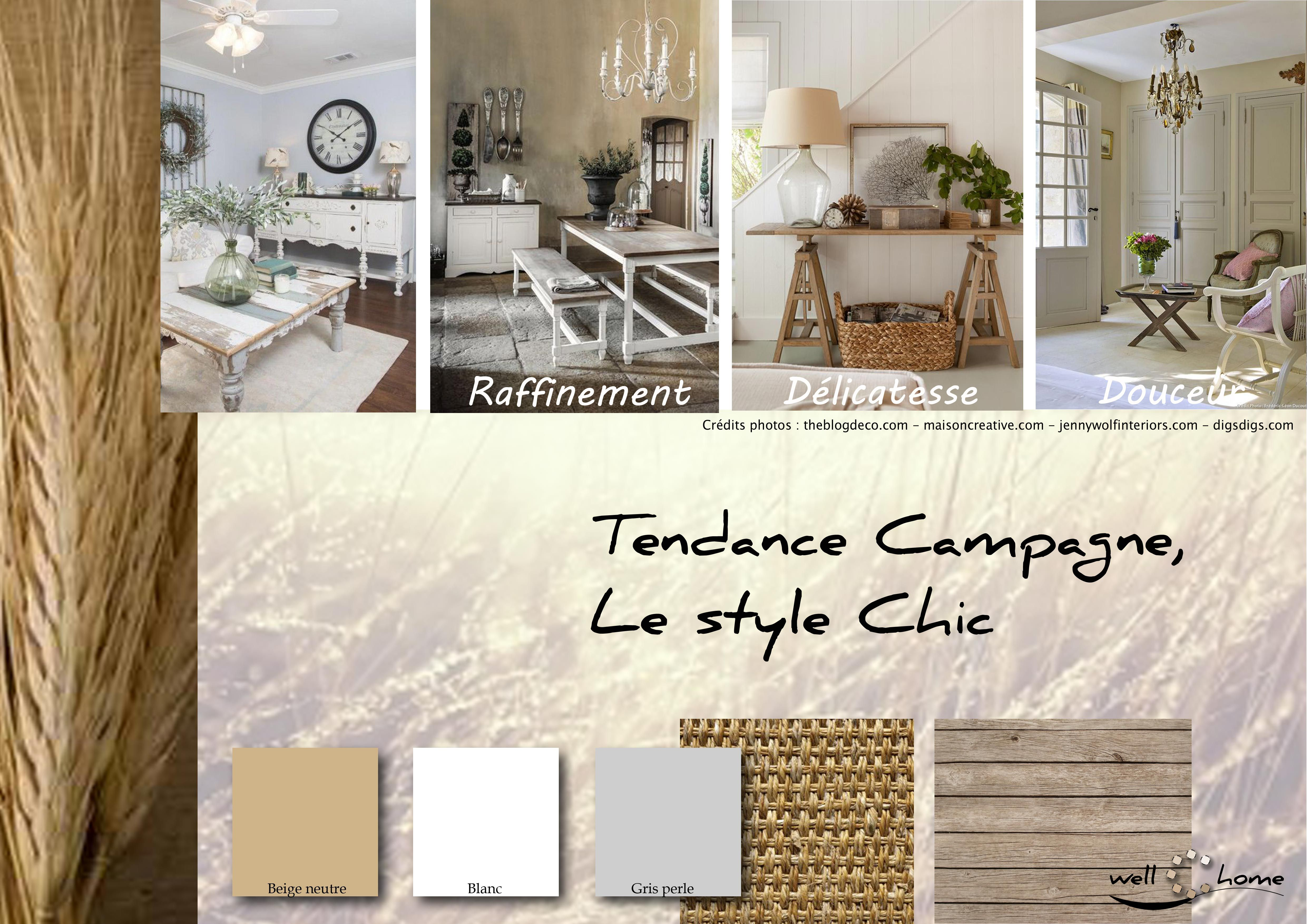 moodboard d co planche d 39 ambiance tendance campagne style chic r alisation well c home. Black Bedroom Furniture Sets. Home Design Ideas