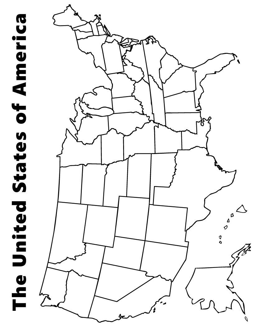 Map of the USA coloring page | - exploring history - | Us ...