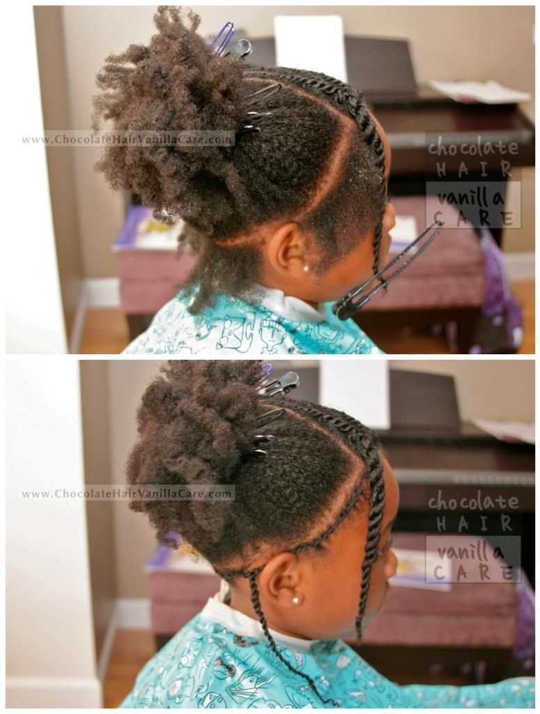chocolate hair / vanilla care: flat rope twists into two puffs