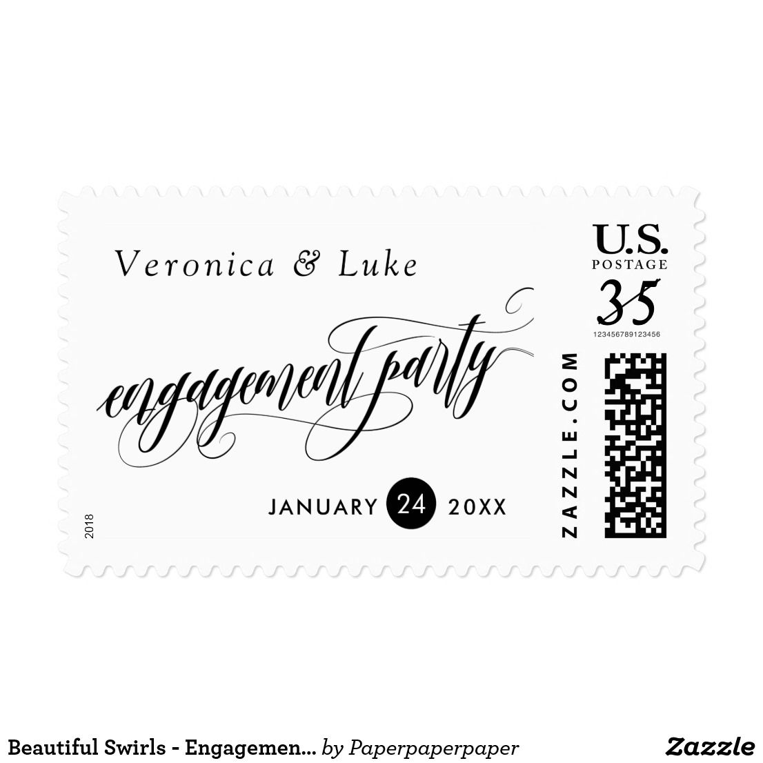 Beautiful Swirls - Engagement Party - Names & Date Postage -- Elegant calligraphy engagement party postage with a gorgeous swirly font. Add your names and the date of your engagement party.