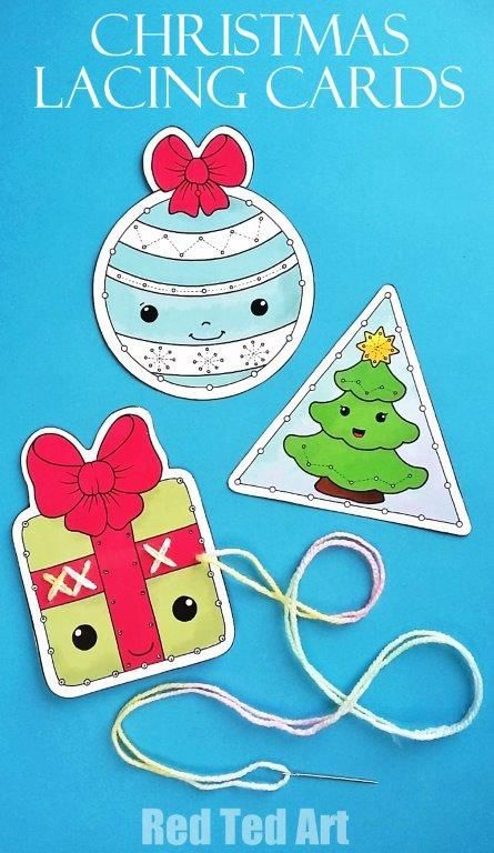 Printable Christmas Lacing Cards | Lacing cards, Garlands and Triangles