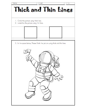 Thick and Thin Lines Worksheet | Art - teacher stuff | Art lessons ...