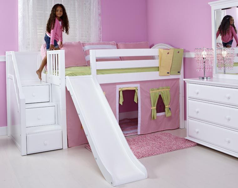 matrix low loft bed with stairs and slide love. Black Bedroom Furniture Sets. Home Design Ideas