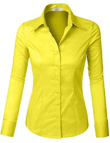 d388eeb6e506 LE3NO Womens Tailored Long Sleeve Button Down Shirt with Stretch at Amazon  Women s Clothing store