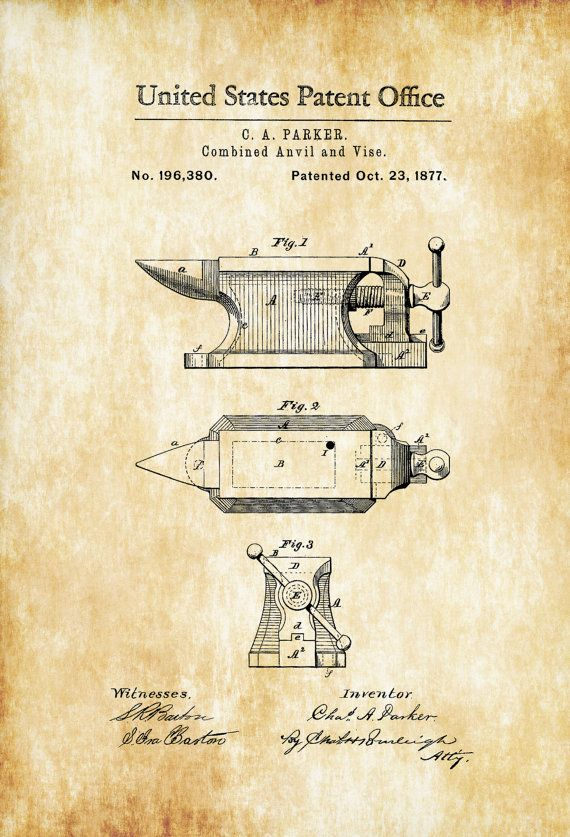 Anvil Patent 1877 Patent Print Blacksmith Anvil Vise Patent Garage Decor Workshop Decor Vintage Tools Wall Decor Patent Art Prints Blacksmithing Patent Prints