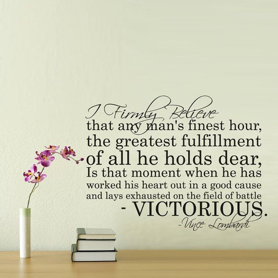 Vince Lombardi Victorious Vinyl Wall Decal