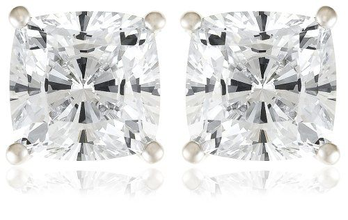 Platinum Plated Sterling Silver Cushion-Cut Cubic Zirconia Stud Earrings