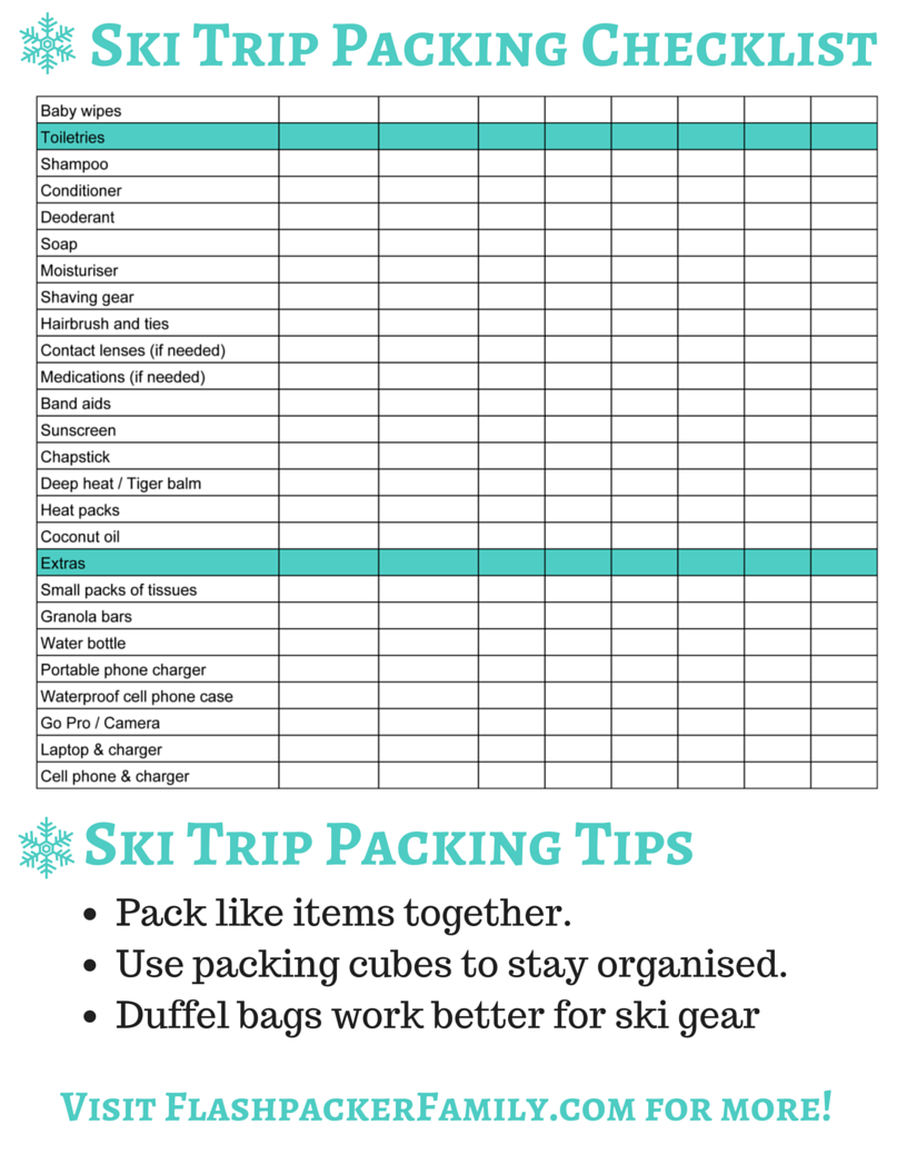 The Complete Ski Trip Packing List  Printable Download  Ski Trip