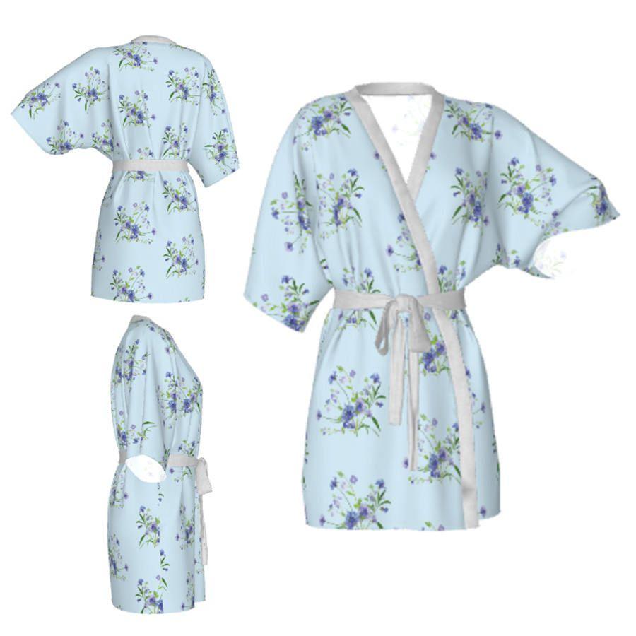 Kimono robe,flloral robe,light blue robe,cornflower kimono,floral kimono,Bridesmaid robe,getting ready robes,Bridesmaids gift,Bridal Robe by OkopipiDesign on Etsy