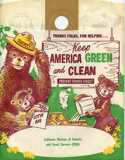 Vtg SMOKEY THE BEAR 1950/'s Litter Bag US//State Forest Service Department 2