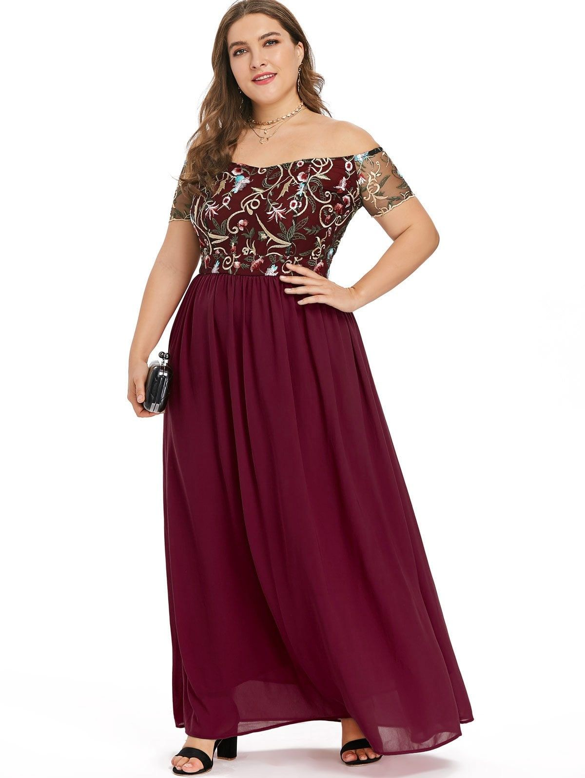 Elastic waist plus size embroidery maxi dress backless