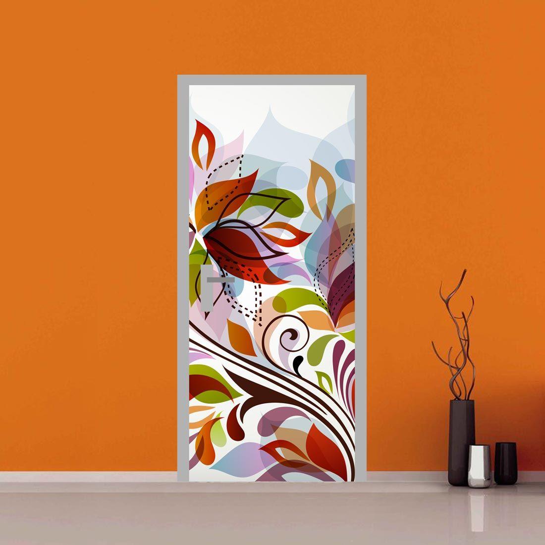 Adesivo per porta Fantasia fiori astratta Pittura pareti
