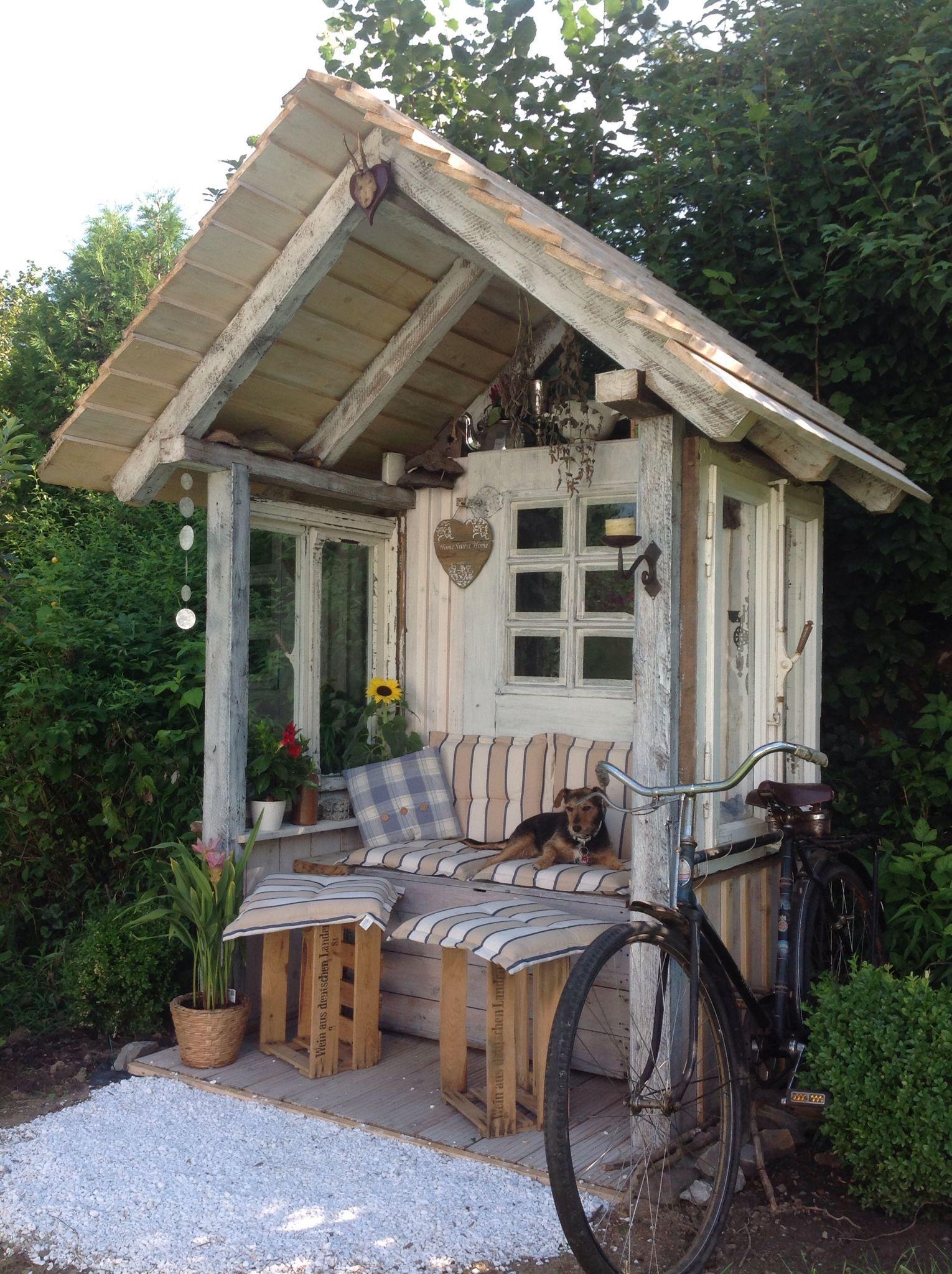 Gartenlaube aus Altholz Kellerfunden und alten #hofideen